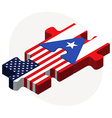 USA and Puerto Rico Flags in puzzle vector image