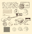 vintage letter and stamps postage elements vector image
