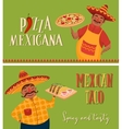 Mexican food Chefs with pizza and tacos Banners vector image