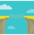Abyss gap or cliff concept with bridge sky and vector image vector image