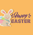 cute bunny with basket on his back with eggs happy vector image
