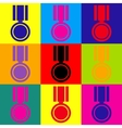 Medal sign Pop-art style icons set vector image