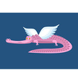 Pink crocodile with wings Fantastic animal Good vector image