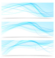 Modern blue wave speed line banners set vector image