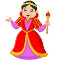 Cartoon queen holding scepter vector image