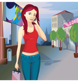 girl in town vector image