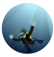 man diving in sea vector image