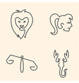One line zodiac symbols set vector image