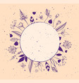 round frame of abstract flowers and leaves vector image