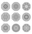 Set of 9 hand drawn mandala arabic template vector image