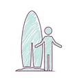 silhouette striped of man standing with surf table vector image