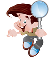 student holding magnifying glass vector image