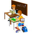 teacher and pupil vector image vector image