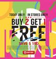 buy 2 get 1 free banner vector image