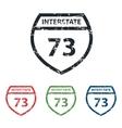 Interstate 73 grunge icon set vector image