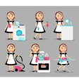 Housewife working icons vector image vector image