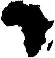 Silhouette map of Africa vector image vector image