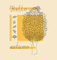 hello autumn tree sketch vector image