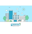 Hospital Building with Inscription Thin Line vector image
