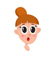 pretty dark brown hair woman surprised facial vector image