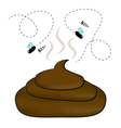 Smelly poop with flies vector image