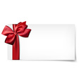 White paper card with gift red satin bow vector image