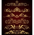 Golden vintage elements and borders set for ornate vector image