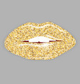 Open Mouth with gold lips vector image