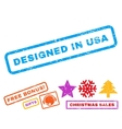 Designed In USA Rubber Stamp vector image
