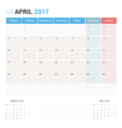 Calendar Planner for April 2017 vector image
