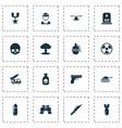 Battle icons set collection of panzer cranium vector image