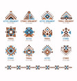 aztec tribal ethnic ornaments set vector image