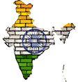India map on a brick wall vector image