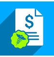 Medical Budget Flat Square Icon with Long Shadow vector image