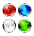 button of four natural elements vector image
