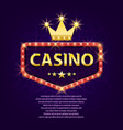 casino retro light sign with gold crown for game vector image
