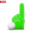 Golf Sports Fan Foam Fingers and ball vector image