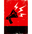 Red poster with megaphone vector image