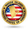 Rhode Island state gold label with state map vector image