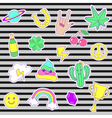 Happy fashion patches retro sweet badges with vector image