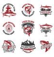 set of salmon fishing emblems design elements for vector image