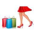 Shopping woman wearing red dress and high heel vector image