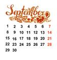 Calendar September 2014 vector image