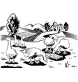 geese in a busy grass eating from a manger vector image