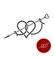 heart with arrow tattoo style linear logo vector image