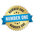 Number one 3d gold badge with blue ribbon vector image