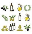 Olive oil olive branch icons set vector image