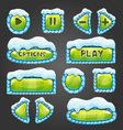 Winter cartoon light green buttons with snow vector image