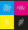 atom sign   white icon with vector image