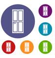 closed wooden door icons set vector image vector image